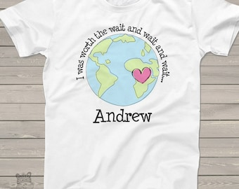 adoption shirt -worth the wait personalized adoption bodysuit or t-shirt- adorable way to announce an adoption MADT1-005
