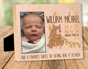 personalized wood birth statistics frame - or wood panel print - custom colors rustic bear and ducklings new baby gift wood panel FBP-002