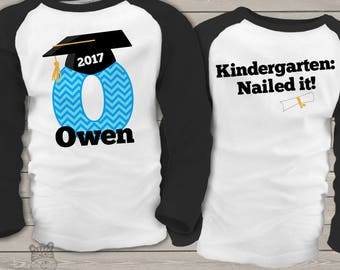 Graduation shirt - boy graduation shirt with chevron initial and grad cap front and back personalized RAGLAN style shirt  mscl-037-r