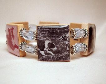 BORDER COLLIE Bracelet / SCRABBLE  Jewelry / Upcycled Handmade / Dog Lover - 2