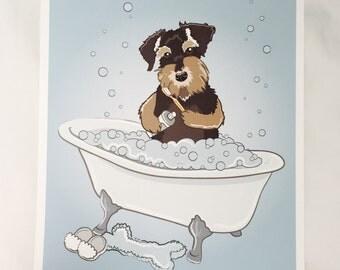 Bathtime Schnauzer - Eco-Friendly 8x10 Print