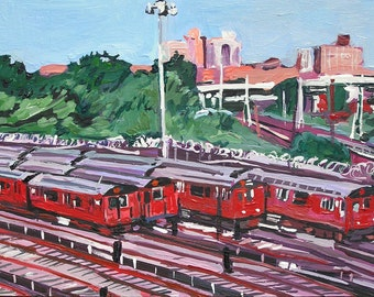 Trains Queens New York Art NYC Art Kids Room transportation Wall Decor Train Yard Fine Art Print  8x10,  Painting by Gwen Meyerson