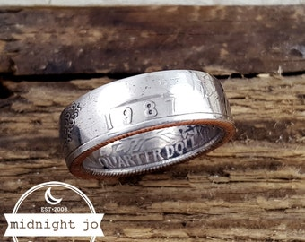 1987 Coin Ring - Double Sided Coin Ring - Year Quarter Ring - Liberty Coin Ring - Coin Jewelry - US Coin Ring - Quarter Coin Ring - 1987