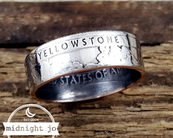 Coin Ring Yellowstone National Park Coin Ring Quarter Coin Ring Double Sided Wyoming Coin Ring