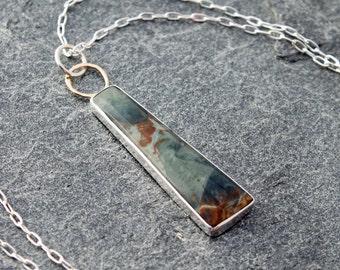 "morrisonite jasper necklace w/ sterling silver & 14k gold, designer statement necklace, April, 26"", blue owyhee picture jasper, geometric"