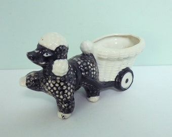 Vintage French Poodle Planter, Made by Shafford, Mid-Centry Black & White Dog Pulling a Basket Cart, Cute!