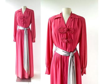 Vintage 1940s Gown | Hostess Dress | Dressing Gown | As Is | Medium M