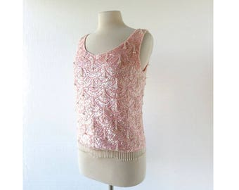 Pink Sequin Top | Vintage 60s Top | Beaded Sweater | S M