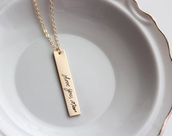 Handwriting Bar Necklace - Vertical Handwriting Necklace, Custom Engraved Signature Handwriting Gift for Mom Signature Necklace, Handwritten