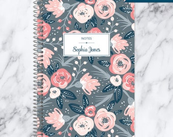 NOTEBOOK personalized journal | lined notebook | personalized gift | stocking stuffer | spiral bound notebook | grey pink floral pattern