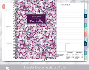 2018 planner calendar choose start month | add monthly tabs weekly student planner personalized agenda daytimer | purple blossoms
