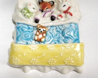 Animal Babies Sleepover Handmade Knick Knack Miniature Sculpture