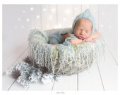 Curly felted blanket layer Round blanket Newborn photography props Wool layer Curls nest stuffer Blueish grey woolen blanket wool