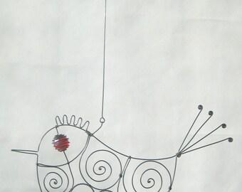 Wire Sculpture / Love Bird  In Red