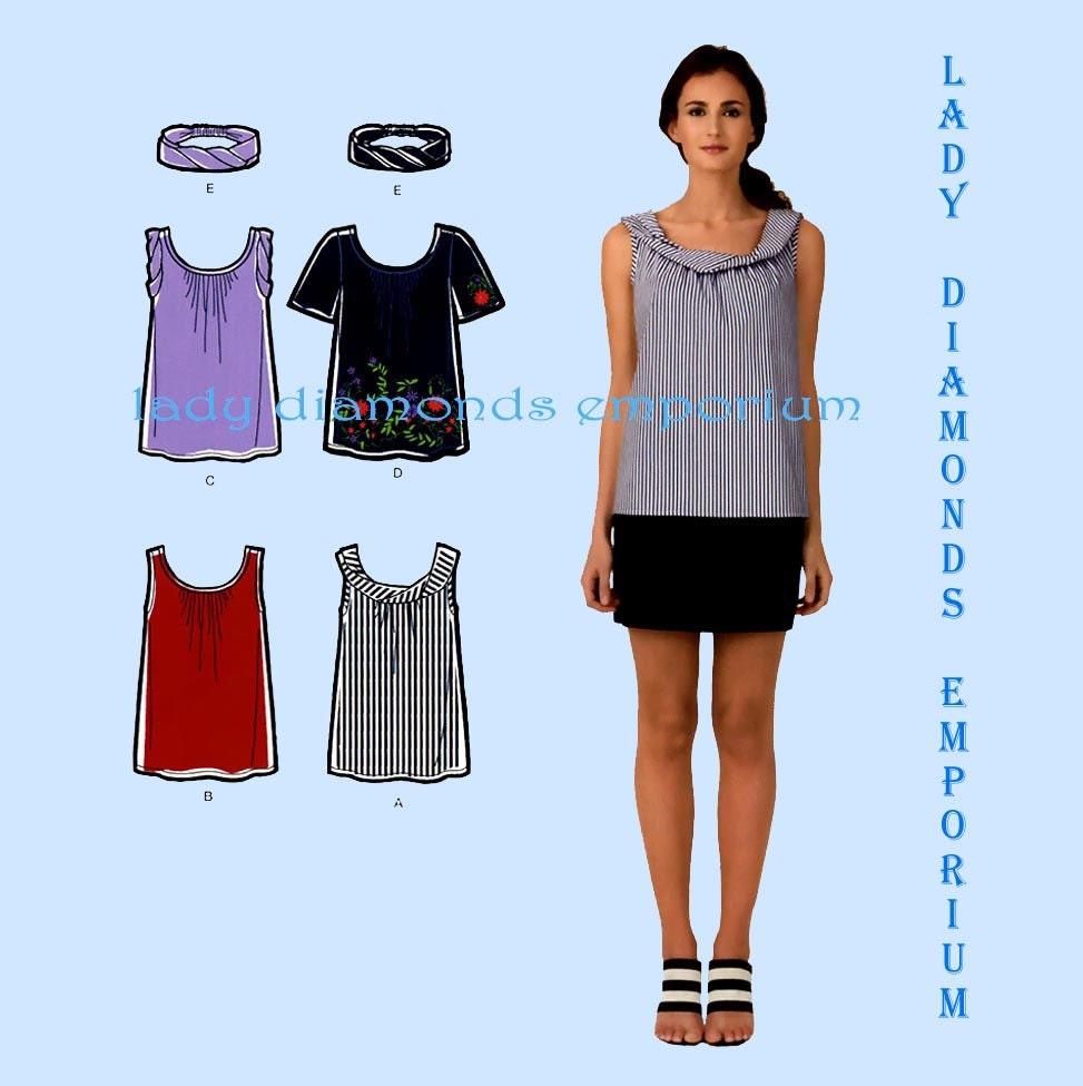 Cynthia Rowley Sewing Patterns: Simplicity 2593 Cynthia Rowley Tunic Tops Tee Shirt Blouse