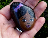 Curly Girl rock number 12, signed painted rock OOAK