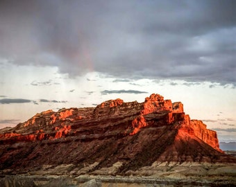 "Utah landscape photography, Southern US, fire red mountains, wall art, color medium format film, red earth  ""Fire Rock"""