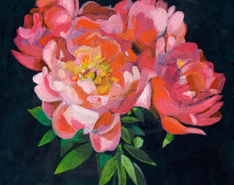 flower bouquet black background- original acrylic painting on mdf  - wall art- wall decor- red flowers -Still Life Painting- folk art