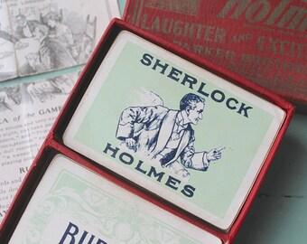 1904 Sherlock Holmes Playing Card Game, Parker Brothers, Antique Sherlock Game, Sherlock Holmes Ephemera, Victorian Game, Stocking Stuffer