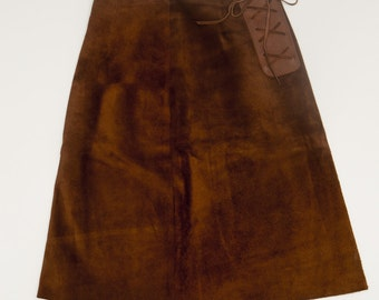 Brown Suede Lace Up Skirt