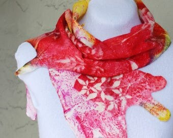 Silk Wool Felted Scarf, Hand Dyed, Extra Fine Merino Wool, Silk, Summer Scarf, Red, Pink, Yellow