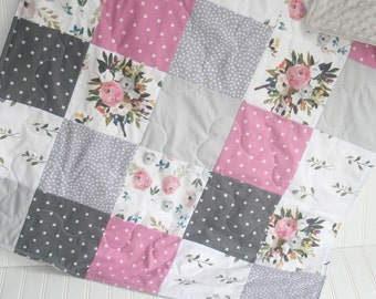baby quilt-baby girl quilt- watercolor floral baby quilt- baby girl bedding-minky baby quilt-  boho baby quilt- floral baby quilt- purple