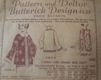 Butterick 4433 - 1920s Box Jacket, House Coat, Vest - Cool Flapper Style - Butterick Deltor - LIKE NEW Antique Pattern Size Bust 38""