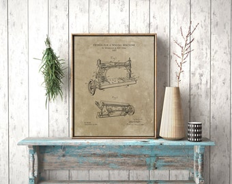 """16 x 20"""" Vintage Sewing Machine blueprint art, sewing room decor, wife gift, sewing gift for mom, crafter gift, gifts for seamstresses"""