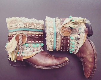 Decorated Cowboy Boots BOHO GYPSY Free Size Custom Made  Festival Western Art Ankle Boots