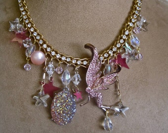 Pink Magic: Fairy Necklace Choker Sparkle Crystals Faceted Stars Gold Glittery Magickal Faerie Vintage Assemblage Valentines Day
