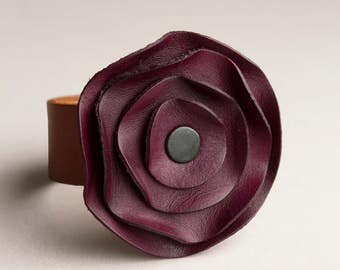 leather cuff, leather scarf cuff, purple Plum eggplant, poppy scarf cuff