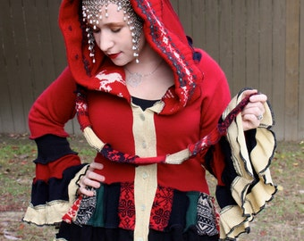 Yuletide Bustle Coat with Metallic Gold- Upcycled Sweater Coat with a Medieval Liripipe Hood and Bell Sleeves- by SnugglePants