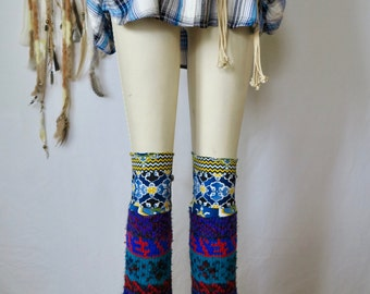 Vibrant Geometric Fuzzy Hybrid Eco Friendly Sweater Knit Flared Leg Warmers Legwarmers Boot Covers Accessories