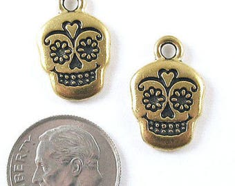 TierraCast Double Sided Pewter Charms-Gold Sugar Skull (2)