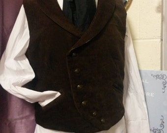 READY TO SHIP, Double Breasted Asymmetric Waistcoat, Steampunk Waistcoat, brown cord, 44 chest