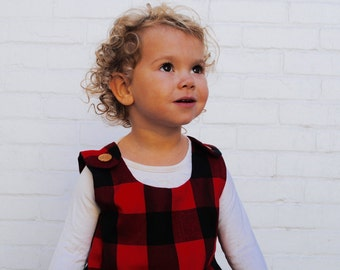 The LumberJill Dress- Girls Dress- Buffalo Plaid in Red and Black- Tunic- Dress