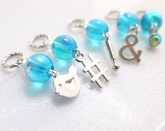 NEW - Tweet This - Five Handmade Stitch Markers - 4.5mm (7 US) - Limited Edition