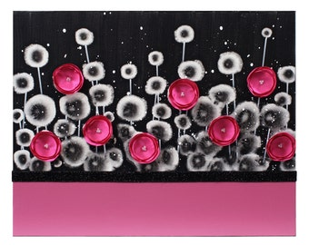 Teen Girl Room Decor Art Painting of Fuchsia Pink and Black Flowers on Canvas - Small 20x16