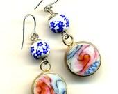 Blur Pink Earrings, Old Porcelain Earrings, Long Sterling silver Ear wire Earrings, Recycle china earrings, Ming Style Earrings