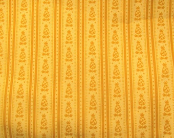 Bicentennial Heirlooms By Waverly Fabric Pineapple Fabric Vintage Waverly Fabric Gold Cream Stripes Traditional Fabric 1.4 Yards 1970s 70s