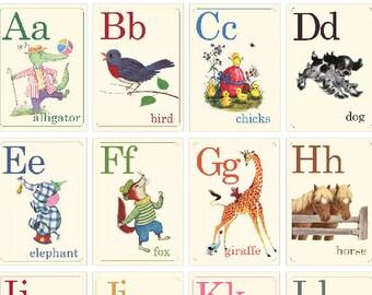 Digital | Print at Home | Animal ABC Alphabet Mini Flash Cards Vintage Retro Style