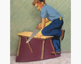 Die Cut Cardboard Hardware Store Display Vintage Carpenter Boy Following In Dads Footsteps