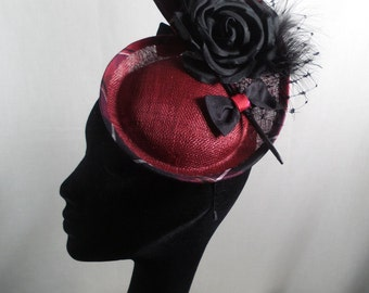 Red hatinator/fascinator with tartan trim. Wedding hat-Races hat-Special occasion hat