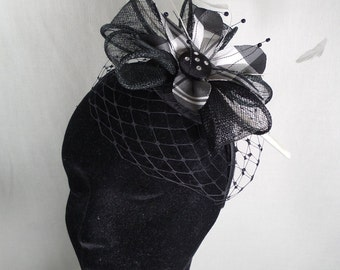 Black fascinator with silk tartan flower SUMMER SALE