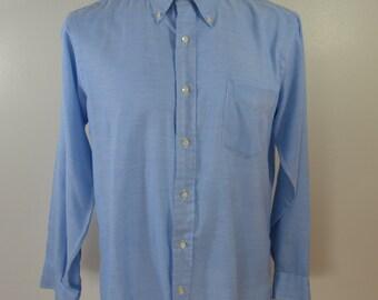 sale Vintage FIELDCRAFT Marshall Field & Co LONG sleeve men's shirt blue button down 1960's