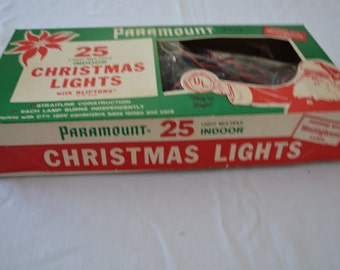 Vintage PARAMOUNT 25 light Christmas set USA 1950's with box sorta works