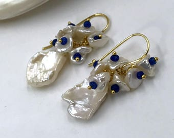 Keishi Pearl Cluster Earrings Wire Wrap Gold Vermeil Blue Lapis and White Pearl Earrings Wedding Bridesmaid Blue Gemstone Cluster