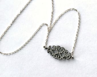Pave Scroll Charm Necklace, Pave Charm Scroll Choker, Sterling Silver Pave Diamond Look Minimalist Necklace, Layering Necklace