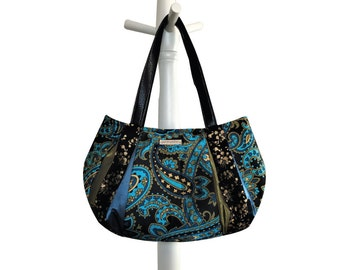 BLUE CURACAO Medium Hobo = dark & light turquoise, black, gold, olive satin paisley floral scroll metallic gold magnetic snap by jennjohn