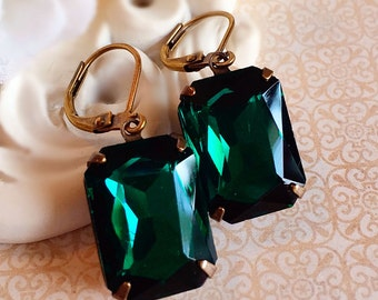 Art Deco Earrings - Emerald Earrings - Green Earrings - Art Deco Jewelry - WINDSOR Emerald